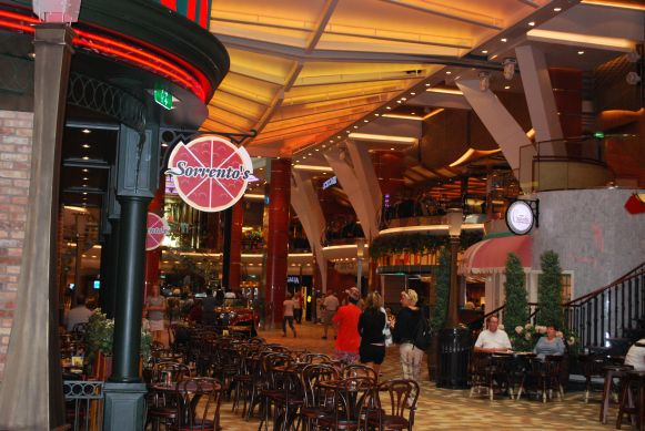 The main deck of the Allure Of the Seas, featuring the awesome Sorrento's pizza...